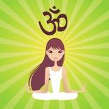 Yoga girl. Pretty girls in healthy yoga pose Stock Illustration
