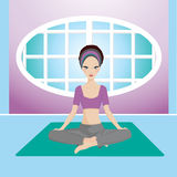 Yoga girl. A vector illustaration of a girl practising yoga in tranquility Royalty Free Stock Image