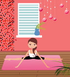 Yoga girl. Pretty girls in healthy yoga pose Stock Photos