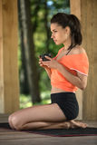 Yoga girl with cup Stock Photography
