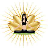 Yoga girl with gold lotus Royalty Free Stock Photo