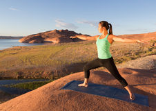 Yoga Girl Lake Powell Royalty Free Stock Photo