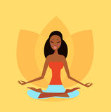 Yoga girl in lotus flower position stock illustration