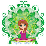 Yoga girl in lotus position Royalty Free Stock Images