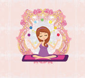Yoga girl in lotus position Stock Photo