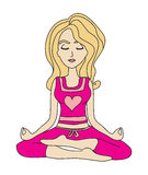 Yoga girl in lotus position Stock Images