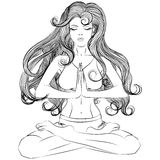 Yoga girl in lotus position outline Royalty Free Stock Photography