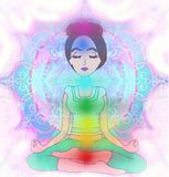 Yoga girl in lotus position Royalty Free Stock Photos