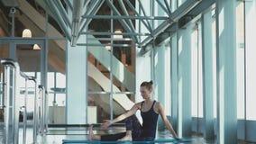 Yoga girl. Pose Ardha Matsyendrasana Half Spinal Twist Pose stock footage