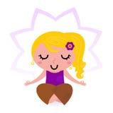 Yoga girl practicing meditation. Cute blond girl practicing yoga asana. Vector Stock Images
