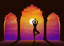 Yoga. A girl practicing yoga in the sunset. Vector illustration Stock Image