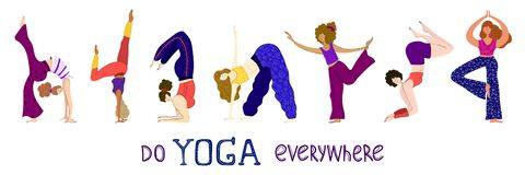 Yoga Girl Set royalty free illustration