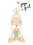 Yoga girl sitting in lotus pose, hand drawn. Vector illustration Royalty Free Stock Photos