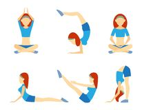 Yoga girl in six positions. Including handstand  lotus  meditation  push-ups  balance  and bending for suppleness  health  wellness and fitness vector icons on Stock Photography