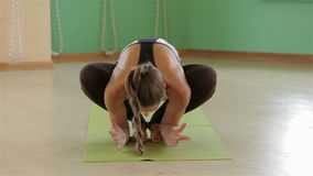Yoga girl in variation sets stock video footage