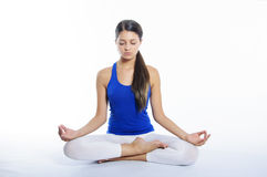 Yoga girl on a white background Stock Photo