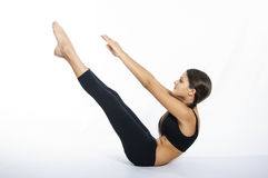 Yoga girl on a white background Stock Images