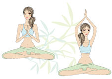 Yoga girls Royalty Free Stock Image