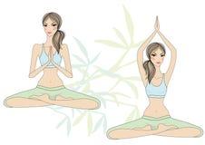 Yoga girls stock illustration