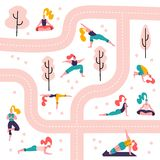 Yoga girls in a park seamless pattern white background.People doing activities and sports outdoor between paths and trees. Women royalty free illustration