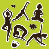 Yoga girls Silhouette Stock Images