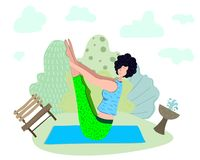 Yoga girls vector royalty free illustration