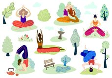 Yoga girls vector Set vector illustration