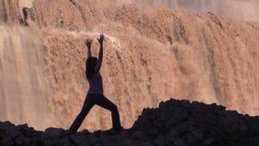Yoga at Grand Falls stock footage
