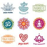 Yoga graphics. Set of yoga and meditation graphics and symbols Stock Image