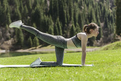 Yoga on a green lawn. The girl on a green lawn practices yoga, costs in a pose Royalty Free Stock Images