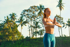 Yoga greeting the sun Stock Images
