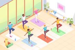 Free Yoga Group Class, Pose Fitness Exercise, Isometric Royalty Free Stock Photo - 183141225