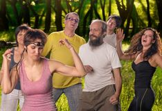 Yoga group doing dance Royalty Free Stock Photography