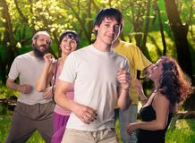 Yoga group doing dance Stock Photography