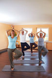 Yoga group doing Vrikshasana Royalty Free Stock Photos