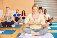Yoga group during meditation exercise. Yoga group during meditation making a breathing exercise Stock Photography