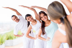 Yoga group stretching Stock Photos