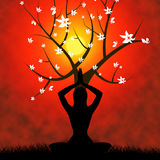 Yoga-Haltung zeigt Übungs-Wohl und Gesundheit Stockfotos