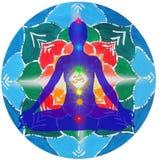 Yoga Haltungs- und chakrapunktmandala Lizenzfreie Stockfotos
