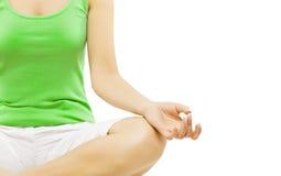 Yoga-Hand, Frauen-Meditation, die in Lotus Pose sitzt lizenzfreie stockbilder