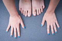 Yoga hands and feet Royalty Free Stock Photos