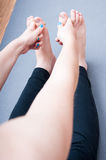Yoga hands and legs Stock Photography