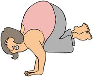 Yoga handstand. This illustration depicts a woman doing a Yoga handstand Stock Images
