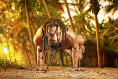 Yoga handstand pose at sunset Royalty Free Stock Images