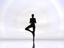 Yoga by hard sun - 3D render Stock Images