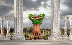Yoga head stand lotus pose Royalty Free Stock Photography
