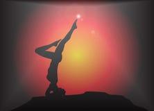 Yoga Headstand Pose Glare Background Stock Image