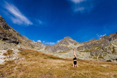 Yoga headstand in Tatry mountains Royalty Free Stock Image
