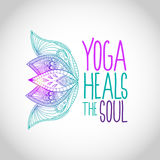 Yoga heals the soul lettering with lotus flowers Stock Photos