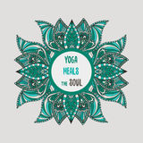 Yoga heals the soul lettering with lotus flowers Stock Images